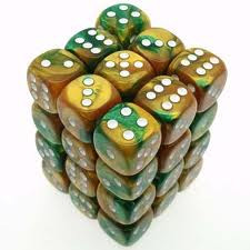 Chessex (26825): D6: 12mm: Gemini: Gold Green/White