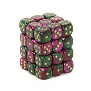 Chessex (26834): D6: 12mm: Gemini: Green Purple/Gold