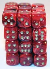 Chessex (27834): D6: 12mm: Vortex: Burgundy/Gold [DAMAGED]