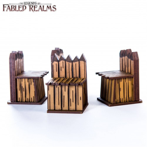 "4Ground Miniatures: 28mm Fabled Realms: 1.5"" Palisade Walls (4)"