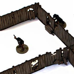 4Ground Miniatures: 28mm Dead Mans Hand: Add-on Yard Panel Fencing