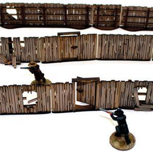 4Ground Miniatures: 28mm Dead Mans Hand: Add-on Yard Panel Fencing (with gates)