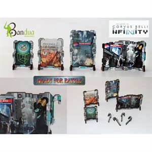 Bandua Wargames: Infinity Terrain Pre-Painted: Holographic Street Signs 1