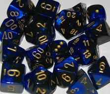 Chessex (26835): D6: 12mm: Gemini: Black Blue/Gold