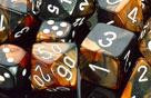 Chessex (26827): D6: 12mm: Gemini: Black Copper/White