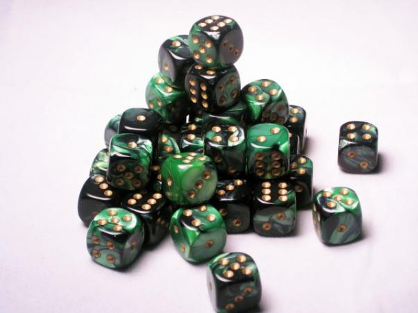 Chessex (26839): D6: 12mm: Gemini: Black Green/Gold