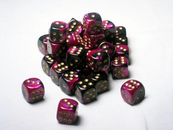 Chessex (26840): D6: 12mm: Gemini: Black Purple/Gold