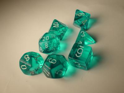 Chessex (23015): Polyhedral 7-Die Set: Translucent: Teal/White