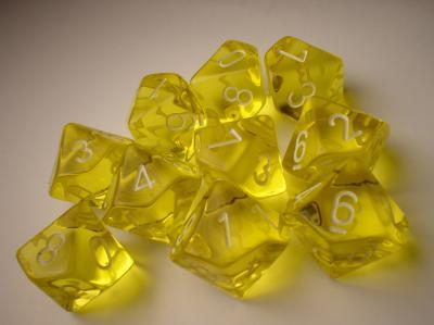 Chessex (23202): D10: Translucent: Yellow/White
