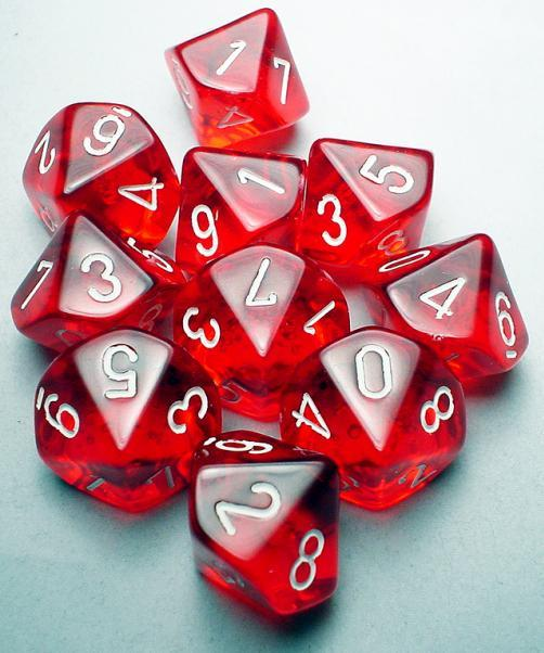 Chessex (23204): D10: Translucent: Red/White