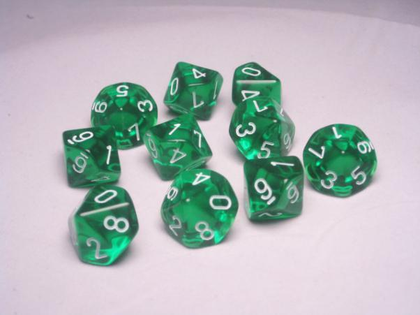Chessex (23205): D10: Translucent: Green/White