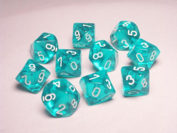 Chessex (23215): D10: Translucent: Teal/White