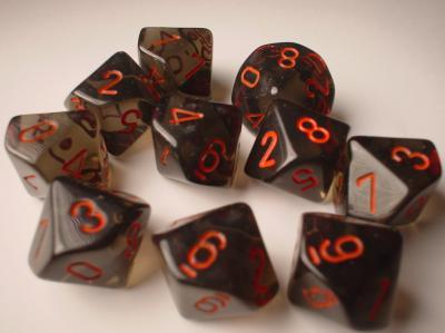 Chessex (23218): D10: Translucent: Smoke/Red