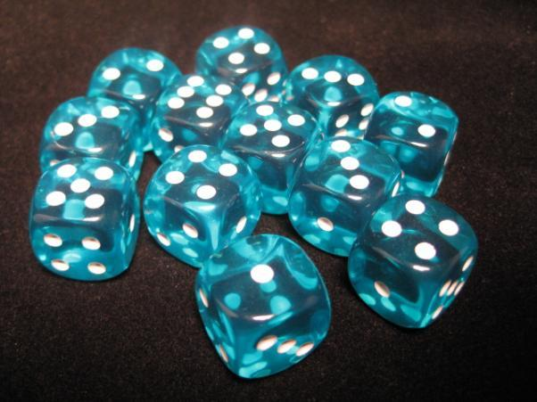 Chessex (23615): D6: 16mm: Translucent: Teal/White