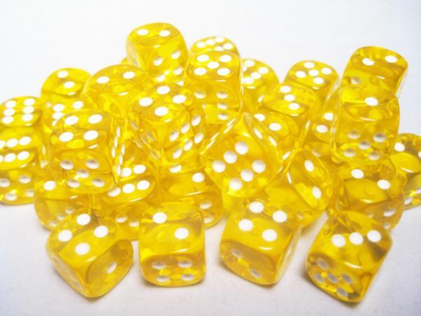 Chessex (23802): D6: 12mm: Translucent: Yellow/White