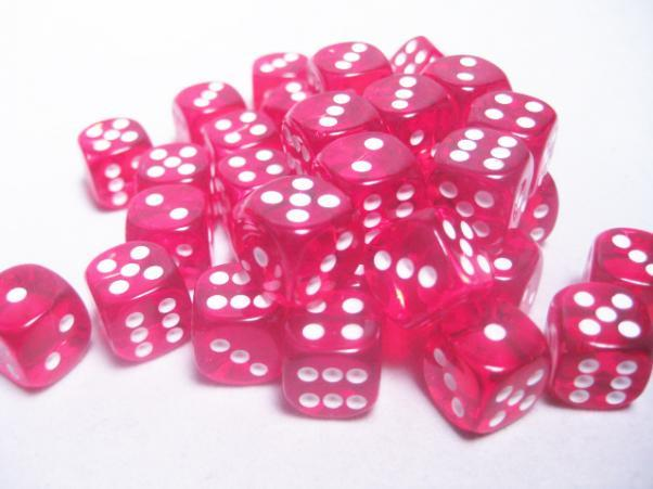 Chessex (23804): D6: 12mm: Translucent: Red/White