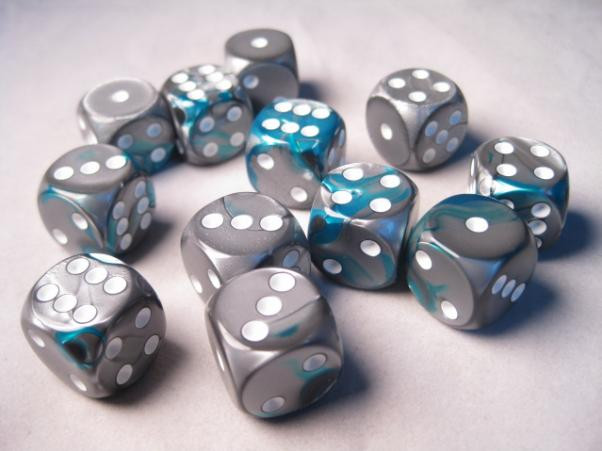 Chessex (26656): D6: 16mm: Gemini #6: Steel-Teal/White