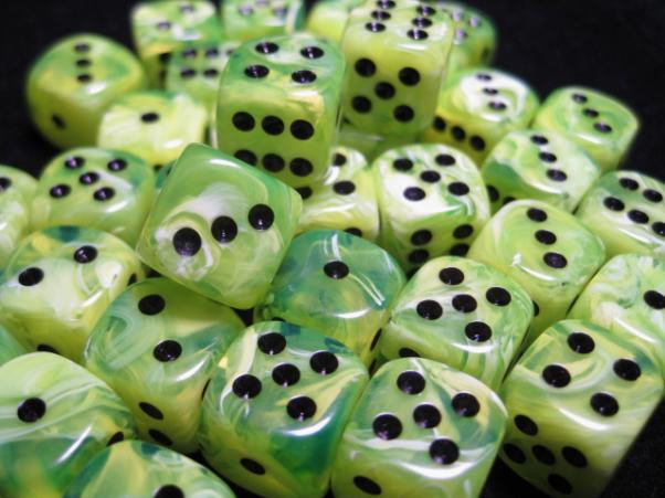 Chessex (27830): D6: 12mm: Vortex: Bright Green/ Black [DAMAGED]
