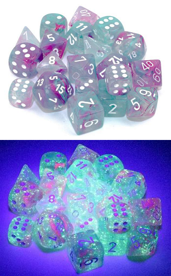 Chessex (27345): D10: Nebula: Wisteria/White Luminary