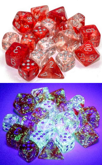 Chessex (27554): Polyhedral 7-Die Set: Nebula: Red/Silver Luminary