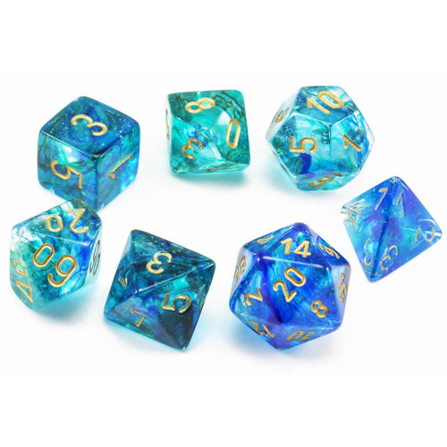 Chessex (27556): Polyhedral 7-Die Set: Nebula: Oceanic/Gold Luminary