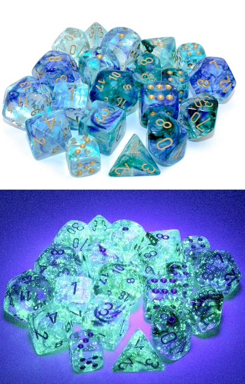 Chessex (27756): Nebula D6 16MM Oceanic/Gold Luminary (12)