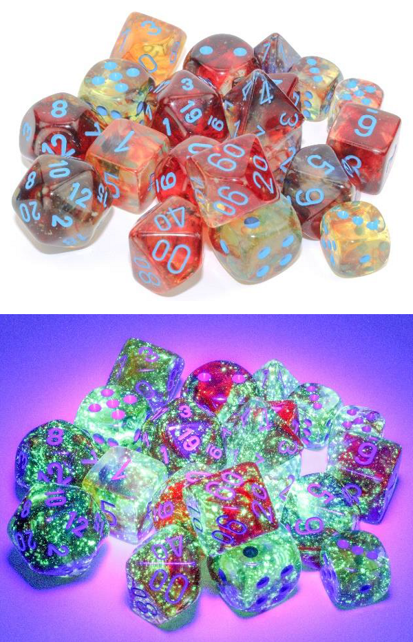 Chessex (27759): Nebula D6 16MM Primary/Turquoise Luminary (12)