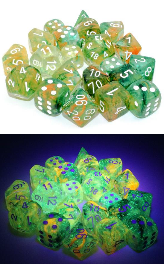 Chessex (27955): D6: 12mm: Nebula: Spring/ White Luminary