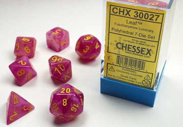 Chessex (30027): Polyhedral 7-Die Set: Leaf - Fuschia and Yellow Luminary