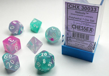 Chessex (30033): Polyhedral 7-Die Set: Nebula - Wisteria and White Luminary