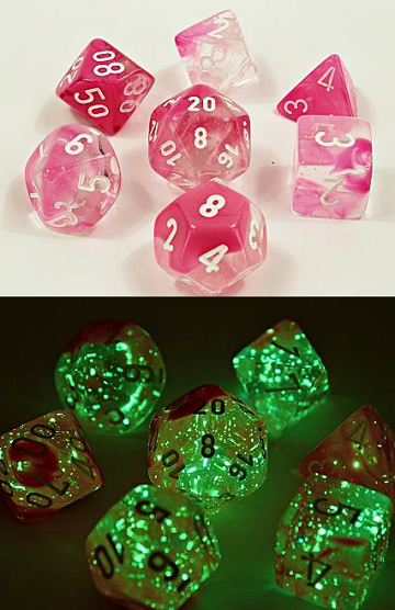 Chessex (30042): Polyhedral 7-Die Set: Gemini: Clear Pink/White Luminary