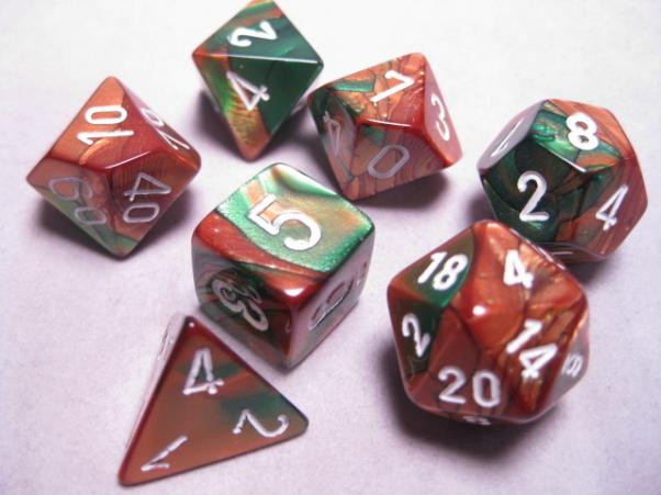 Chessex (26837): D6: 12mm: Gemini: Copper Green/White