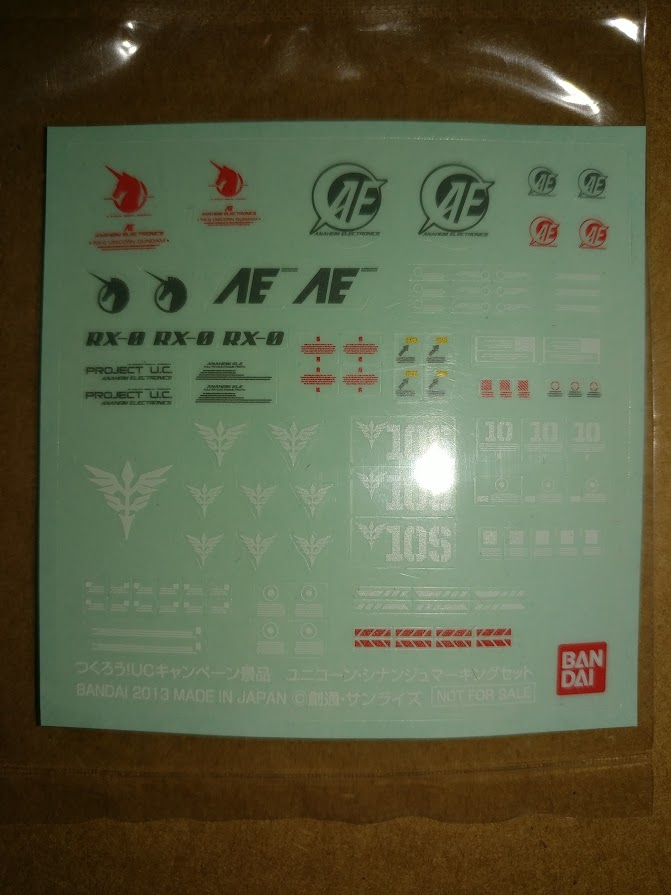 Gundam Decals: R-1 Unicorn Sampler