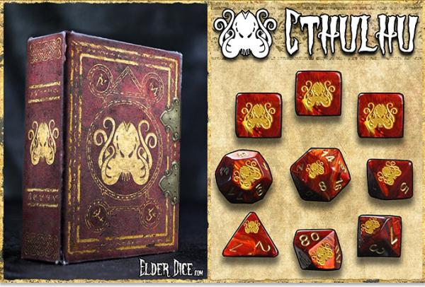 Infinite Black: Elder Polyhedral Dice Set- Red with Cthulhu Brand Design