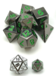 Little Dragon: Mini Dice - Glossy Black/Green Numbers (Metal)
