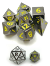 Little Dragon: Mini Dice - Glossy Black/Yellow Numbers (Metal)