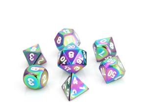 METAL RPG DICE SET - SCORCHED RAINBOW W/ WHITE