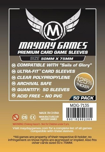 Mayday: Premium Sails of Glory Sleeves: 50mm x 75mm (50)