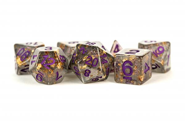 Metallic Dice Games: Resin Dice: Grey with Gold Foil, Purple Numbers