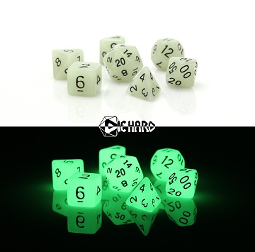 POLY RPG DICE SET - GLOW-IN-THE-DARK WHITE