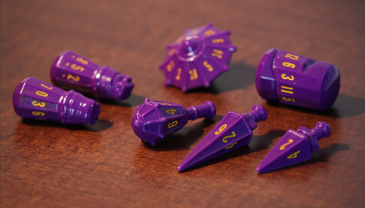 Polyhero Dice: Warrior- Vorpal Purple with Amber