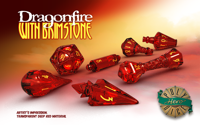 Polyhero Dice: Wizard- Dragonfire with Brimstone
