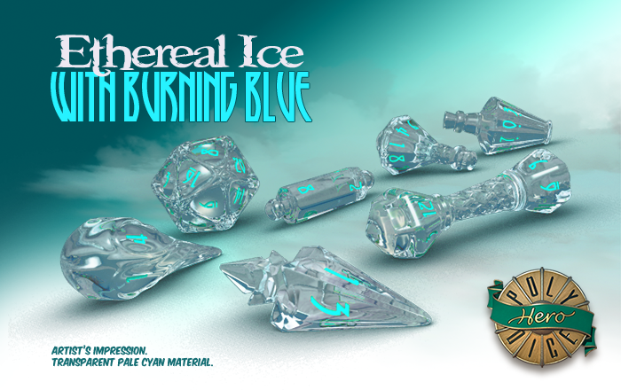 Polyhero Dice: Wizard- Ethereal Ice with Burning Blue
