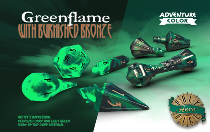 Polyhero Dice: Wizard- Greenflame with Burnished Bronze