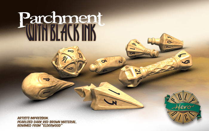 Polyhero Dice: Wizard- Parchment with Black Ink