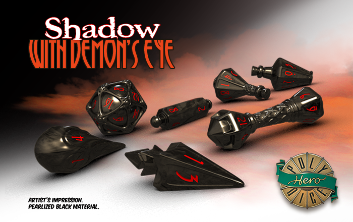 Polyhero Dice: Wizard- Shadow with Demons Eye