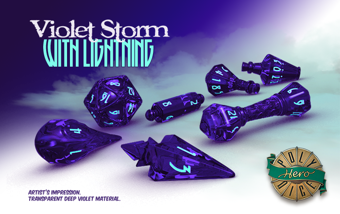 Polyhero Dice: Wizard- Violet Storm with Lightning