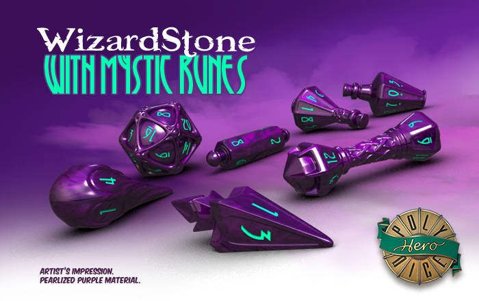 Polyhero Dice: Wizard- Wizardstone with Mystic Runes