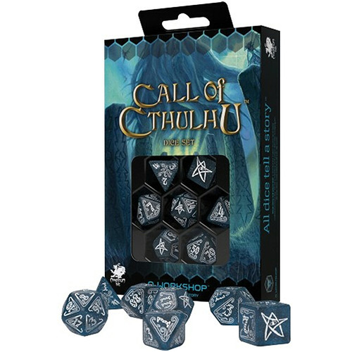 Q-Workshop: 7 Dice Set- Call Of Cthulhu: 7th edition ABYSSAL/ WHITE