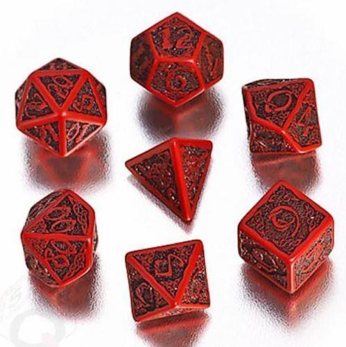 Q-Workshop: 7 Dice Set- Celtic 3D: Red& Black